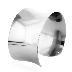 Designer Polished Wide Cuff Bangle in Stainless Steel