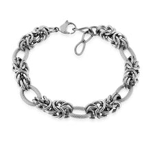 Load image into Gallery viewer, Stainless Steel Byzantine & Oval Link Bracelet