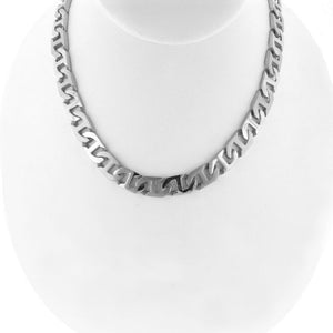 Stainless Steel Satin & Polished Mariner Link Necklace
