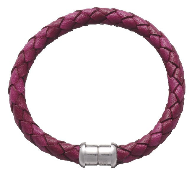 Italian Magnetic Purple Leather Bracelet