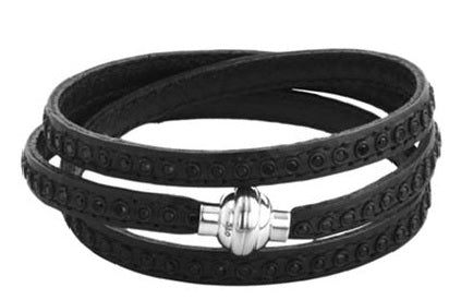 Stainless Steel Crystal Triple Wrap Leather Bracelet