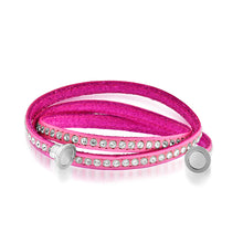 Load image into Gallery viewer, Crystal Studded Pink Leather Wrap Bracelet