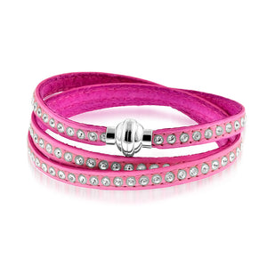 Crystal Studded Pink Leather Wrap Bracelet