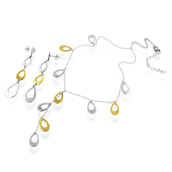 Stainless Steel Two-tone Cascade Necklace & Earring set