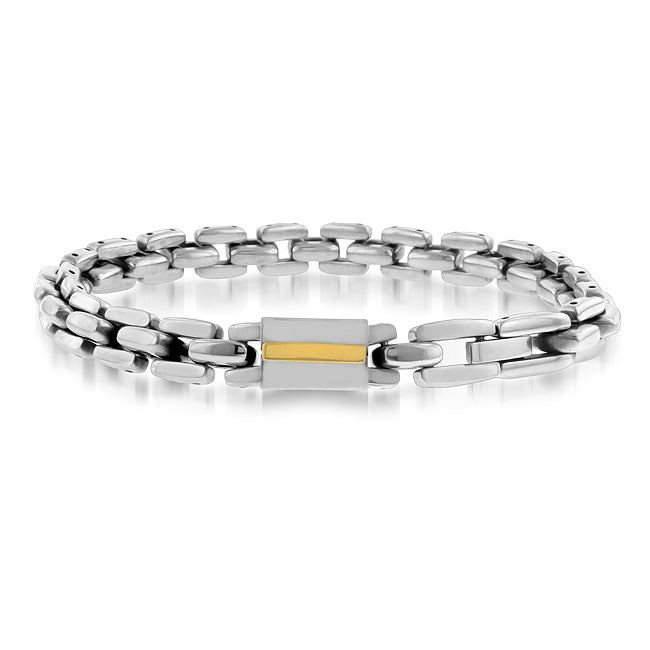 Stainless Steel Two Tone Boston Link Men's Bracelet