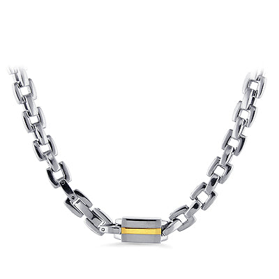 Men's Stainless Steel Square Link Necklace