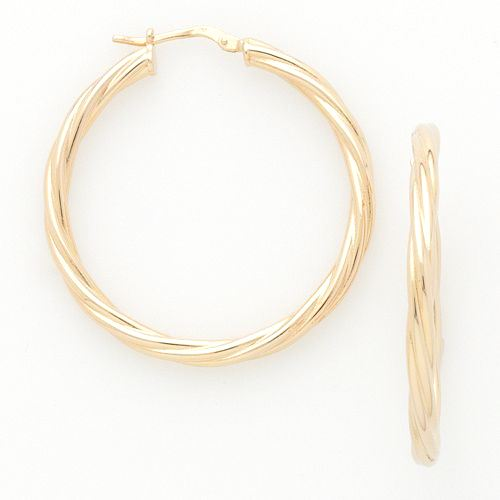 Round Twisted Gold over Bronze Hoop Earrings