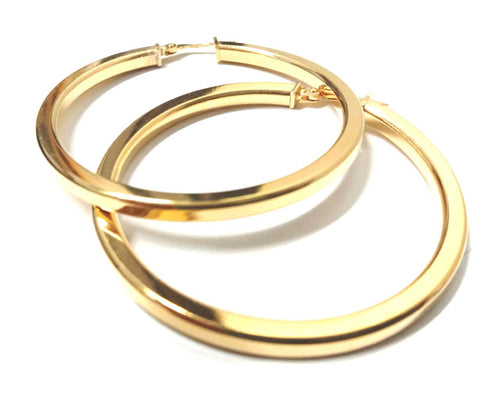 Round Tube Large Gold plated Hoop Earrings