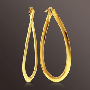 Teardrop Hoop Earrings set in Gold over Bronze