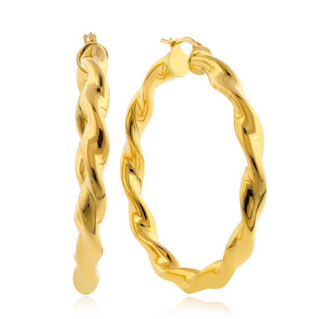 Gold-Plated Bronze Twisted Round Hoop Earrings