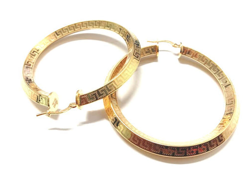 Gold plated Greek Key Hoop Earrings - 30mm