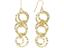 Load image into Gallery viewer, Polished & Hammered Multi-circle 18k Yellow Gold Over Bronze Dangle Earrings