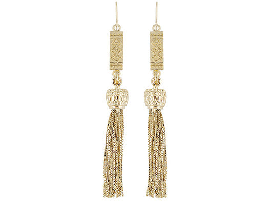 Fancy Design 18k Yellow Gold Over Bronze Dangle Earrings With Tassel