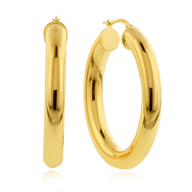 Gold-Plated Bronze Polished Large Oval Hoop Earrings