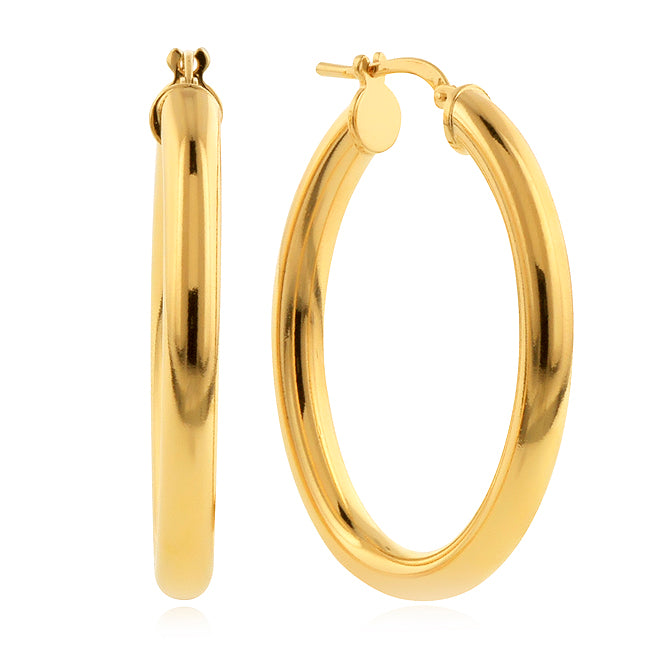 Gold-Plated Bronze Polished Medium Oval Hoop Earrings
