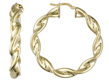 Load image into Gallery viewer, 18k Yellow Gold Over Bronze Twisted Hoop Earrings