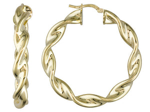 18k Yellow Gold Over Bronze Twisted Hoop Earrings