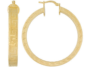 Greek Design 18k Yellow Gold Over Bronze Hoop Earrings