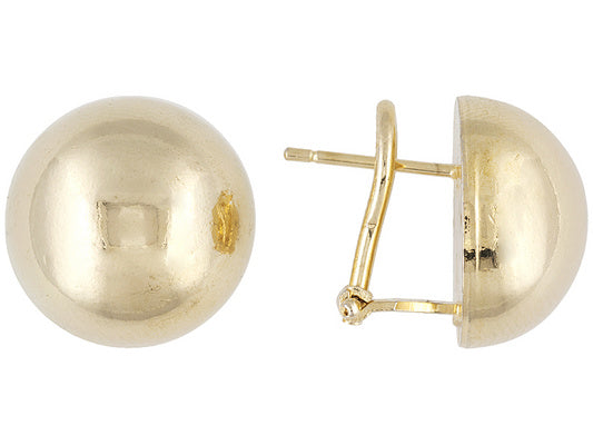 18K Yellow Gold Over Bronze Big Round Stud Earrings