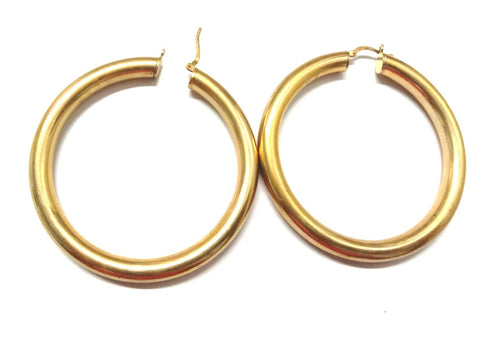 Round Tube Medium Hoop Earrings