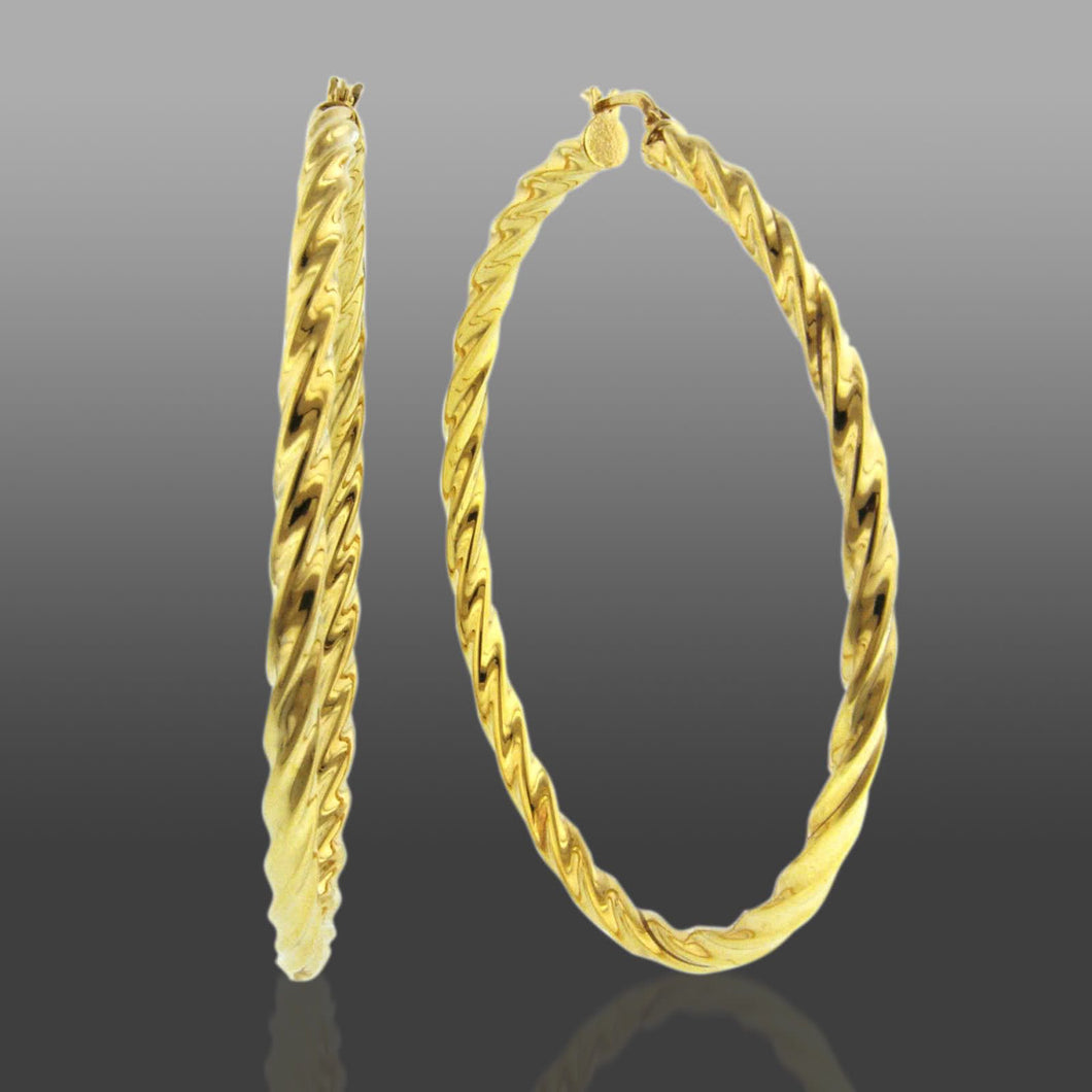 X-Large Twisted Bangle Hoop Earrings set in Gold over Bronze