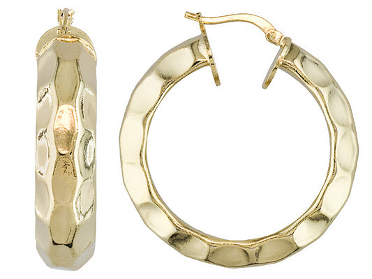 Faceted Hoop Earrings set in Gold over Bronze