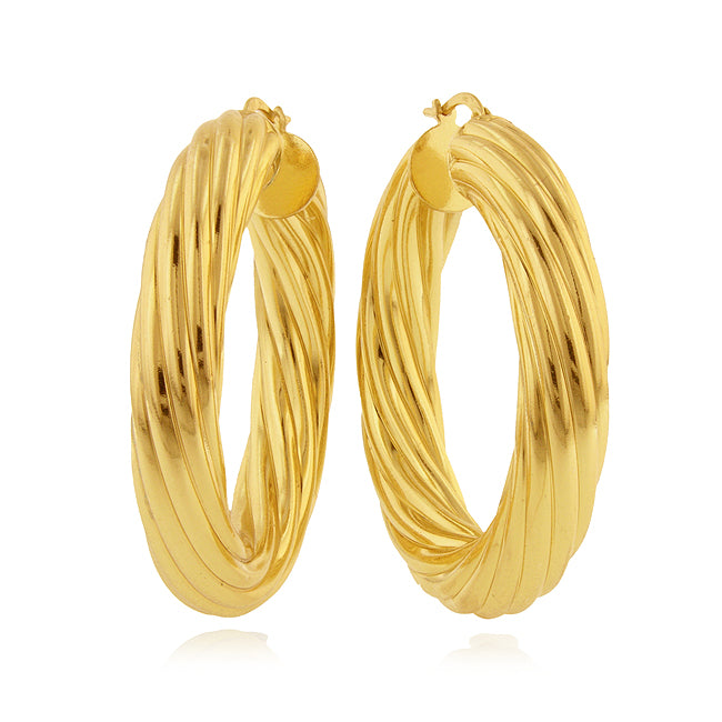 Rigato Fluted Hoop Earrings in Gold over Bronze