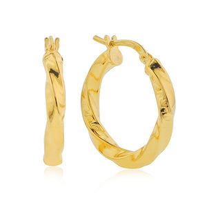 Gold Over Bronze Twisted Hoop Earrings