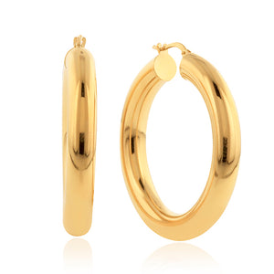 Gold-Plated Bronze Puffed Polished Large Hoop Earrings