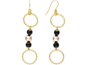 Polished & Textured 18k Yg Over Bronze Diamond Cut With Onyx Dangle Earrings