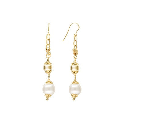 Polished And Textured 18k Yg Over Bronze With Shell Pearl Dangle Earrings