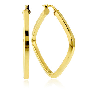 Gold Over Bronze Square Hoop Earrings - 35mm