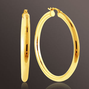 Medium Tube Hoop Earrings set in Gold over Bronze