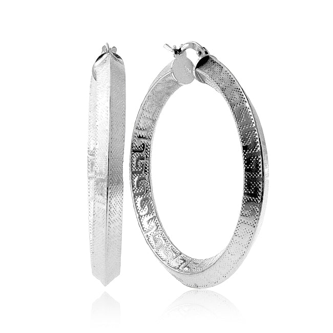 EuroPlatinum Greek Key Hoop Earrings - 30mm