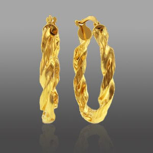 Small Ribbon Hoop Earrings set in Gold over Bronze