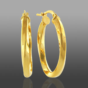 Polished Oval Hoop Earrings set in Gold over Bronze