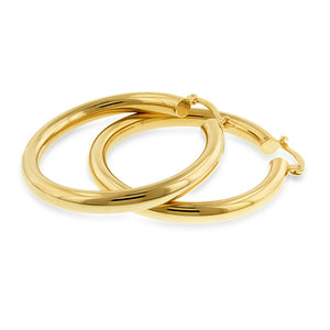 Gold Over Bronze Italia Hoop Earrings - 4x34mm