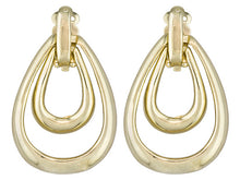 Load image into Gallery viewer, 18k Yellow Gold Over Bronze Double Hoop Earrings