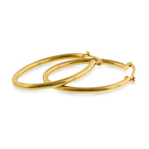 Oval Hoop Earrings in Gold Over Bronze