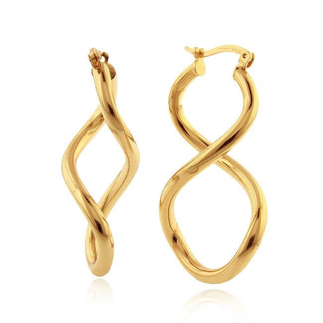 Twisted Hoop Earrings in Gold Over Bronze