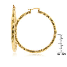 Load image into Gallery viewer, Italia Twisted Hoop Earrings in Gold Over Bronze