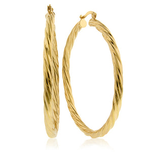Italia Twisted Hoop Earrings in Gold Over Bronze