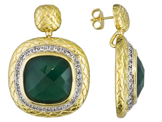 Green Chalcedony With White Topaz 18k Yg Over Bronze Earrings