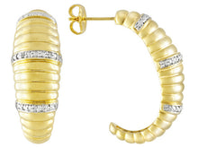 Load image into Gallery viewer, Diamond Accent 18k Yellow Gold Over Bronze J-hoop Earrings Made In Italy