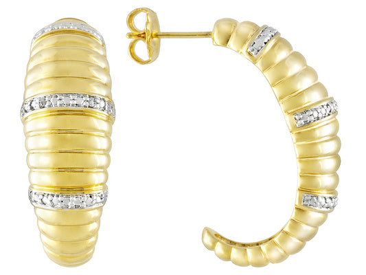 Diamond Accent 18k Yellow Gold Over Bronze J-hoop Earrings Made In Italy