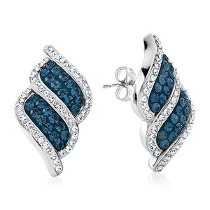 Platinum Over Bronze Blue Crystal Kite Stripe Earrings