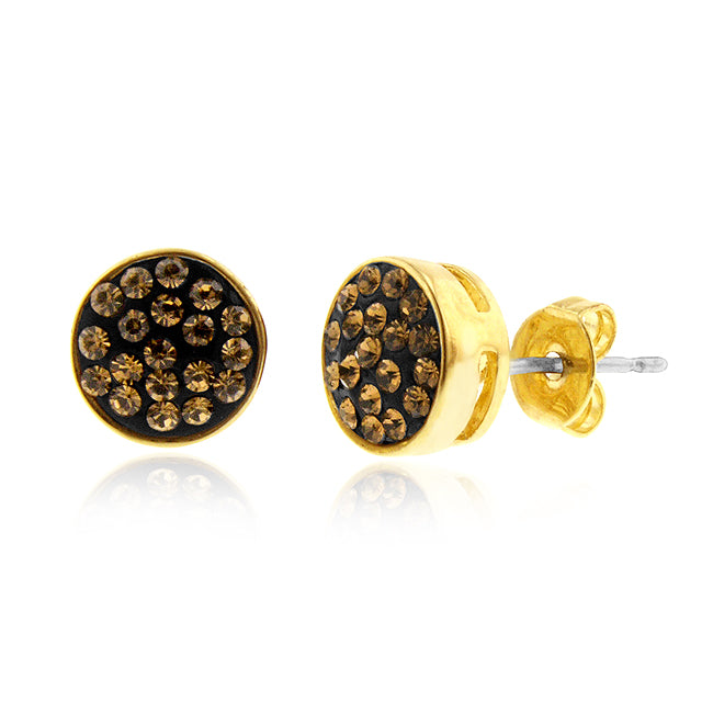 Smoky Topaz Crystal Stud Earrings