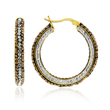 Load image into Gallery viewer, Yellow Gold Over Bronze Crystal Hoop Earrings