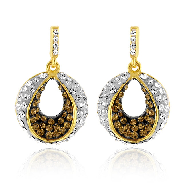Yellow Gold Over Bronze Crystal Drop Earrings