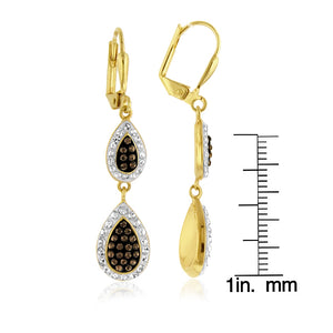 Yellow Gold Over Bronze Crystal Tear Drop Earrings